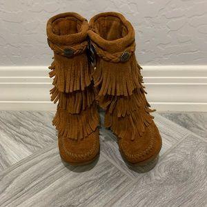 Kids Minnetonka Moccasin Leather Boots